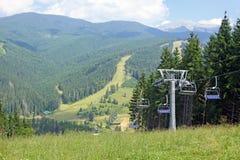 Bukovel ski resort in summer, Carpathians, Ukraine Stock Image