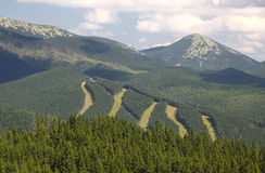 Bukovel ski resort in summer, Carpathians, Ukraine Royalty Free Stock Images