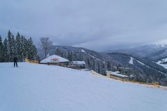 BUKOVEL, UKRAINE - DECEMBER 26, 2018 Bukovel ski resort, Ukraine. Panorama bar stock photos