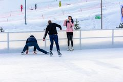 Free Bukovel, Ukraine February 12, 2019 - A Man Skates For The First Time Royalty Free Stock Image - 162042656