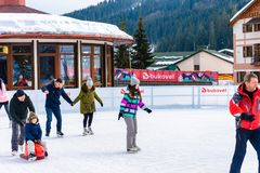 Free Bukovel, Ukraine February 12, 2019 - Young Couple Roller Skating For The First Time Stock Image - 162042681
