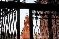 Bukovinian和达尔马希亚城市居民住所看法通过伪造的门,现在它是切尔诺夫策大学的一部分 库存图片