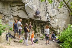Buksky Canyon Near Buki Village, Mankovsky District, Cherkassy Region, Ukraine - May 26, 2018: Training Of Mountaineers Stock Photos