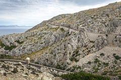 Bukta bergvägen till udden Formentor, Majorca Royaltyfri Bild