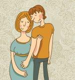 bukta hans gravida tryckande på fru för mannen Royaltyfria Bilder