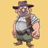 Buktad manlig cowboy för tecknad filmtecken i hatt Arkivbilder