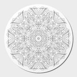 Buktad prydnad för Tracery mehndi Etniskt motiv, monokrom binär harmonisk klottertextur svart white vektor Arkivfoton