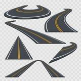 Buktad väguppsättning för olikt perspektiv vektor royaltyfri illustrationer