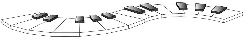 Buktade pianotangenter, två oktäver, 3d royaltyfri illustrationer