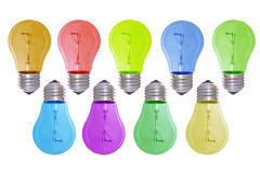 Bul3. Multi-coloured bulbs isolated on white stock images
