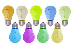 Bul3. Multi-coloured bulbs isolated on white royalty free stock images