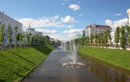 Bulak kanal i staden av Kazan royaltyfria bilder