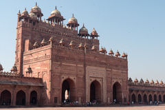 Buland Darwaza (Gate of Magnificence), Fatehpur Sikri. The back side of the massive main gate to the mosque and palace complex at Fatehpur Sikri Royalty Free Stock Image