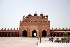Buland Darwaza interior. Buland Darwaza is located at Fatehpur Sikri, about 40 km from Agra. It was built by Mughal emperor Akbar in the year 1572 Royalty Free Stock Images