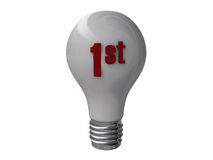 Bulb with 1st number. Light bulb with 1st number Royalty Free Stock Photo