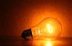 Bulb. Close up of electric  tungsten bulb illuminating Royalty Free Stock Photo