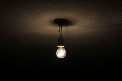 Bulb. Hung from a wire in the ceiling Royalty Free Stock Photo