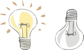 Bulb. Two buld, turned on and off vector illustration