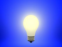 Bulb. Glowing Bulb against a Blue Background Royalty Free Illustration