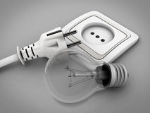 Bulb against the electric socket and an electrical plug Royalty Free Stock Images