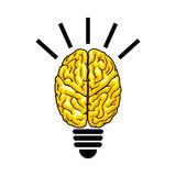 Bulb as the brain Stock Photos