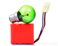 Bulb and battery pack Stock Images