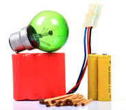 Bulb and battery pack Royalty Free Stock Photo
