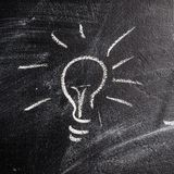 Bulb on chalk board Stock Photography