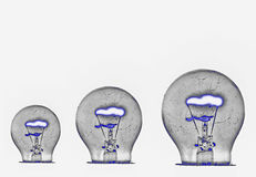 Bulb black white glow Stock Images