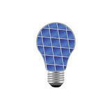Bulb with blue solar panel vector illustration Royalty Free Stock Photos