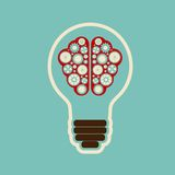 Bulb with brain cloud Royalty Free Stock Photography