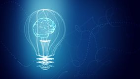 Bulb with a brain inside concept design, blue abstract background. digital animation. Seamless loop, repeat from second 4. stock footage