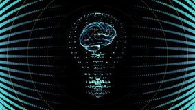 Bulb with a brain inside, concept design in blue. digital animation. stock video