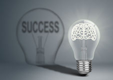 Bulb with brian and shadow with success, idea concept Stock Photography
