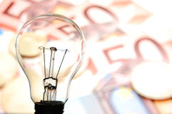 Bulb with business background Royalty Free Stock Photos