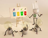 Learning About Recycling. Bulb character learning about recycling, 3d rendering Stock Image