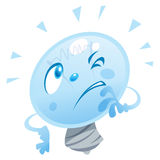 Puzzled bulb. A bulb character is thinking and look puzzled Stock Images