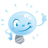 Bulb thumbs up. A bulb character with thumb up Royalty Free Stock Photography