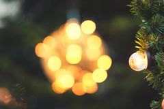 Bulb on the christmas tree Stock Photo