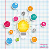 Bulb Circles Network Infographic Checked Paper Stock Image