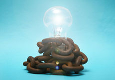 Bulb and circuits. Royalty Free Stock Images