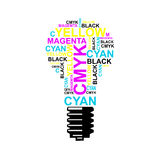 Bulb CMYK Ideas - Cyan, Magenta, Yellow, Black. In typographic style royalty free illustration