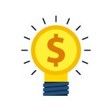 bulb and coin design. Solution concept. Vector graphic Royalty Free Stock Image