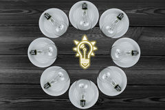 Bulb combination. Light bulb combination element.Bright light bulb icon Stock Photo