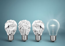 Bulb with crumpled paper, best idea creative concept. Bulb with crumpled paper, idea creative concept royalty free stock photos