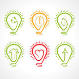 Bulb with different concept. Vector illustration Royalty Free Stock Photo