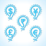 Bulb with different  currency concept. Vector illustration Stock Image