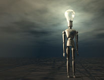 Bulb. Digital Illustration of a Manikin with Bulb Head Royalty Free Stock Image