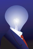 Bulb with dollar filament. In Businessman suit Stock Images
