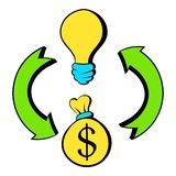 Bulb, dollar sign and green arrows icon cartoon Stock Photo